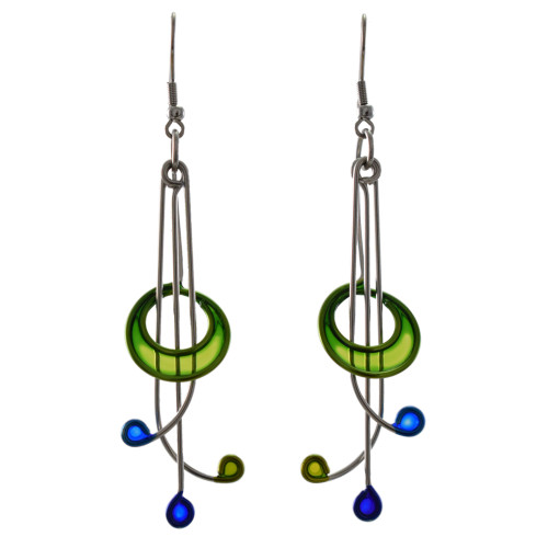 Kinetic Sculpture Inspired Earrings: Green Rhythm