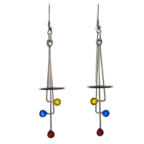 Kinetic Sculpture Inspired Earrings: Abstract Homage