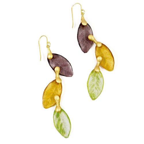 Artisan Glass & Gold Plate Autumn Leaves Drop Earrings