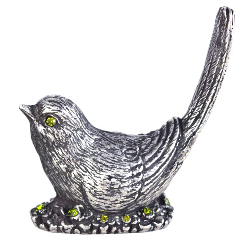 Pewter Nesting Bird Ring Holder