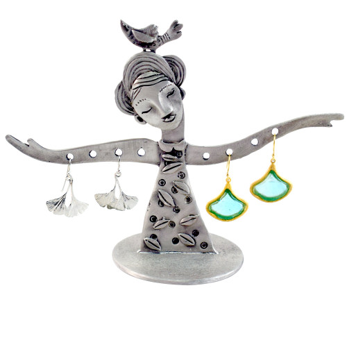 'Happy Day' Cast Pewter Art Small Earring Holder