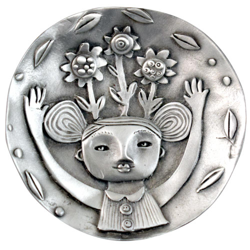 Cast Pewter Art Ring Dish - Girl in Bloom