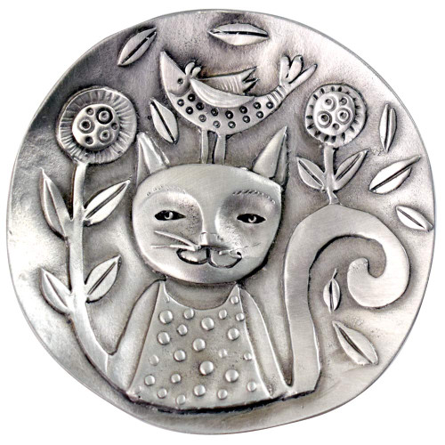 Cast Pewter Art Ring Dish - Cat Joy