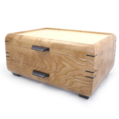 Handmade Natural Wood Jewelry Chest with Drawer