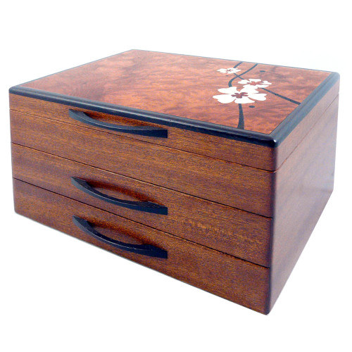 Moon Flower Marquetry Hardwood Jewelry Chest