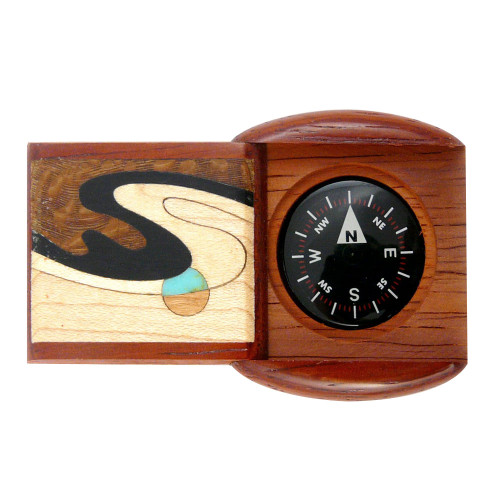 Hardwood Pocket Compass - Padauk Wave