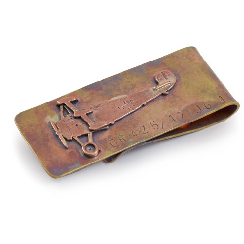 Bronze Money Clip - Red Baron Fokker Aircraft