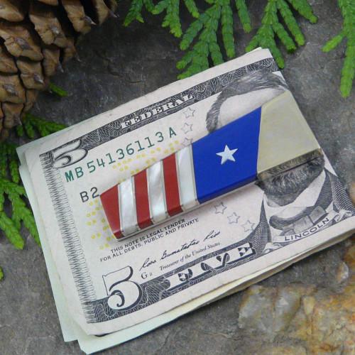 Gemstone Money Clip: American Flag Motif