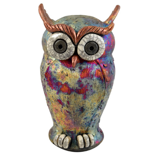 Raku Owl Tabletop Sculpture