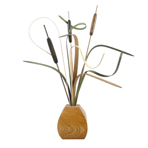 Wooden Cattails Tabletop Arrangement