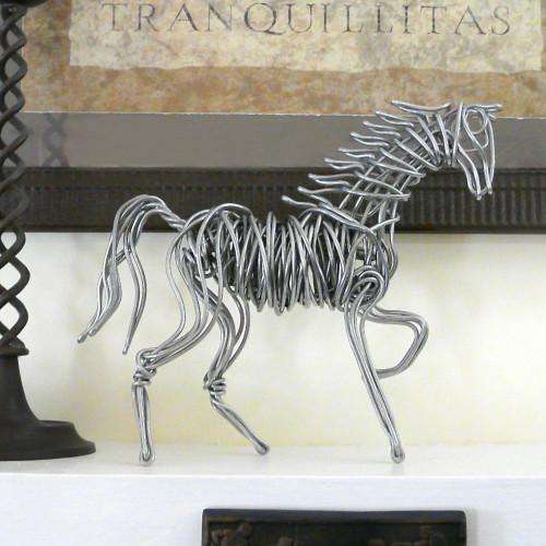 Aluminum Wire Horse Tabletop Sculpture