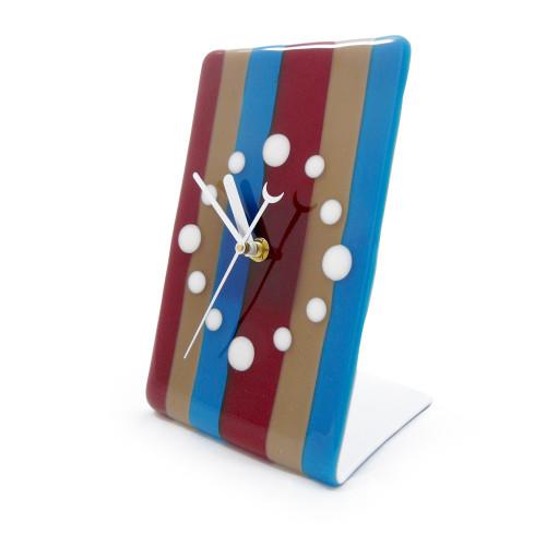 Modern Fused Glass Desk Clock: Candy Stripe