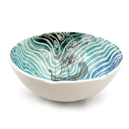 Viking Ship Ceramic Serving Bowl