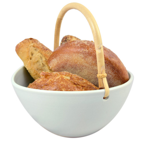 Stoneware Bread Basket with Bamboo Handle
