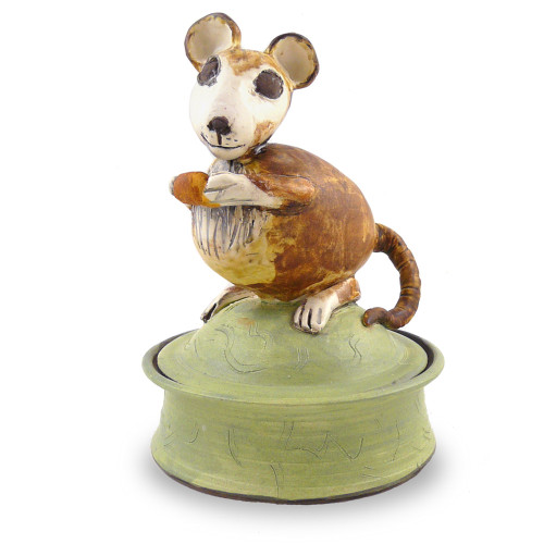 Field Mouse Sculptural Ceramic Keepsake Jar