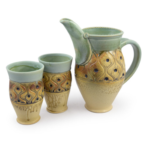 Classic Hand-Carved Pottery Pitcher + Tumbler Set with Diamond Tuft Pattern