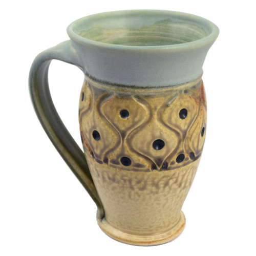Classic Hand-Carved Pottery Mug with Diamond Tuft Pattern