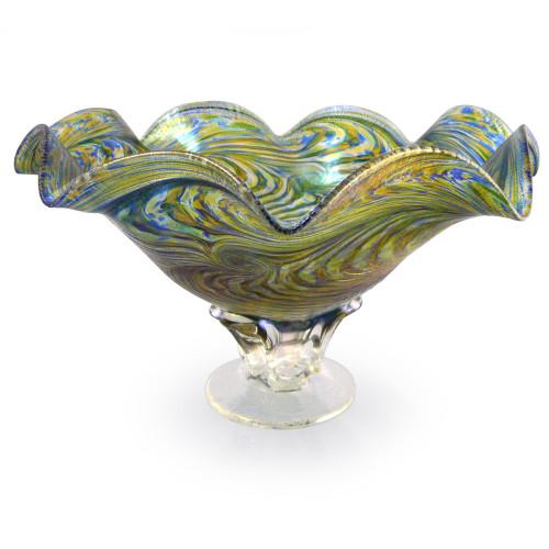 Hand-Blown Glass Fluted Pedestal Bowl - Peacock