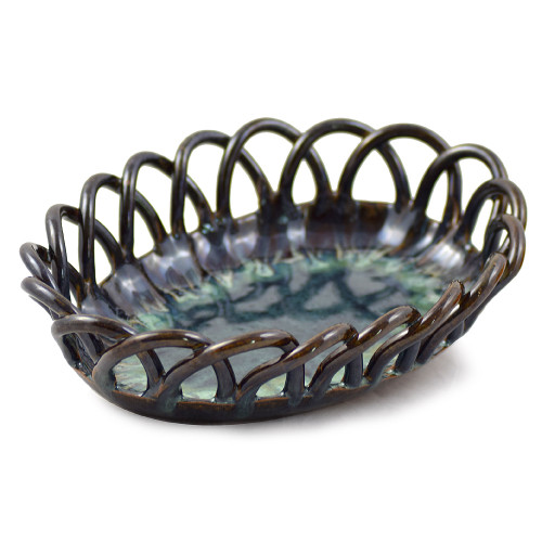 Seagrove Pottery Woven Bread Basket in Midnight Blue