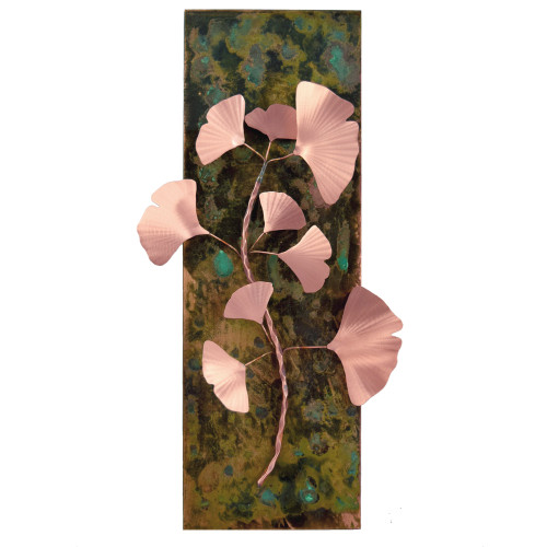 Copper Ginkgo Branch Wall Sculpture