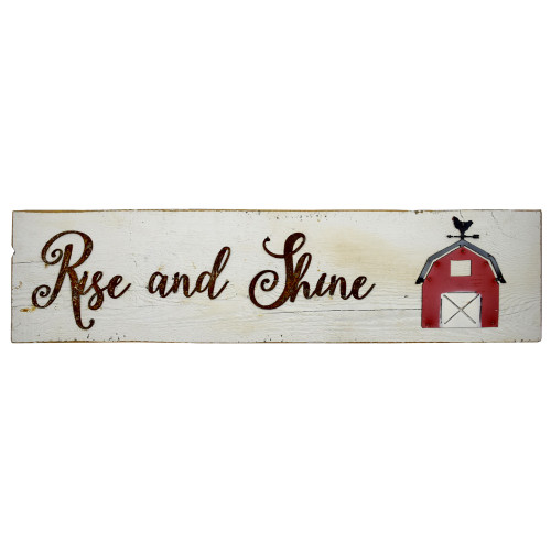 Reclaimed Barnwood Sign: Rise and Shine