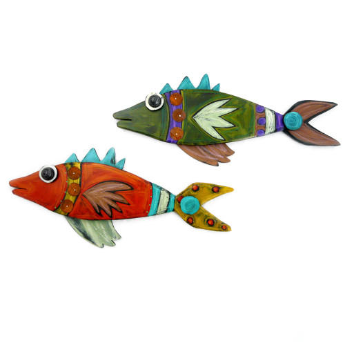 Hand-Painted Carved Wood Wall Fish