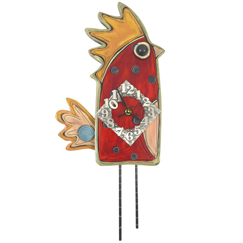 Whimsical Red Hen Carved Wood Clock