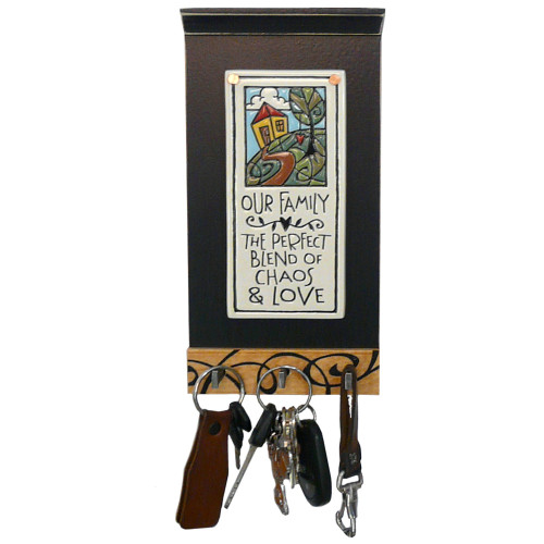 Inspirational Ceramic Tile Key Holder: Our Family Quote