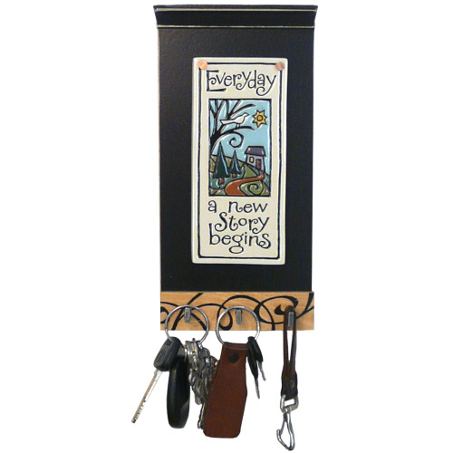 Inspirational Ceramic Tile Key Holder: Everyday a New Story Begins