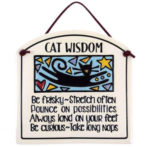 Ceramic Quote Plaque - Cat Wisdom