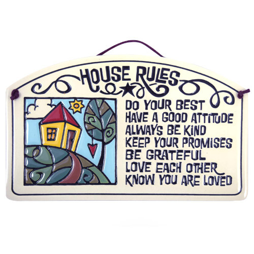 Ceramic Arch Plaque with House Rules Quote