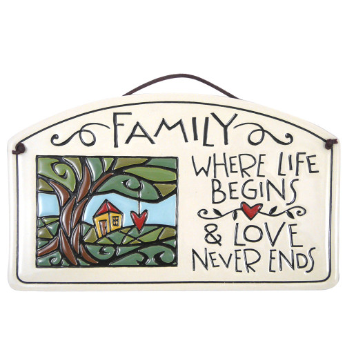 Ceramic Arch Plaque with Family Quote