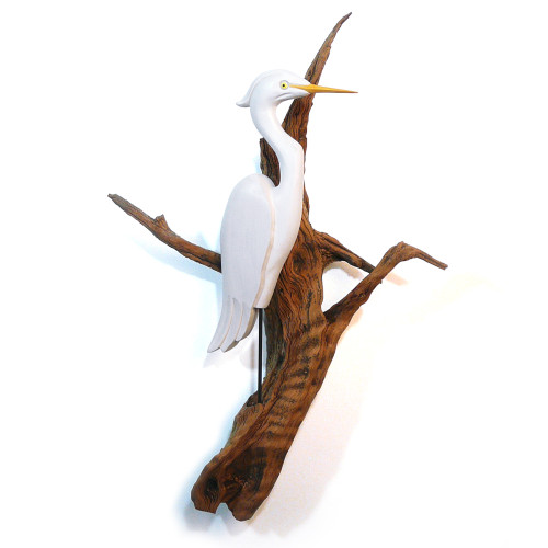 Carved Heron on Driftwood Wall Sculpture
