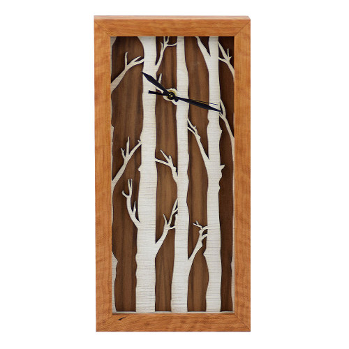 Birch Forest Motif Box Clock