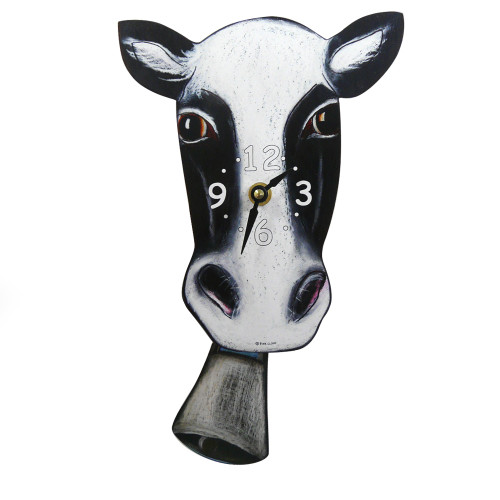 Swinging Bell Pendulum Cow Clock