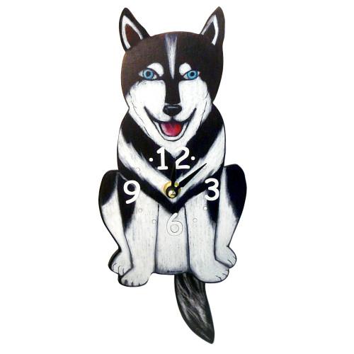 Tail-Wagging Dog Clock: Husky