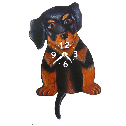 Tail-Wagging Dog Clock: Rottweiler