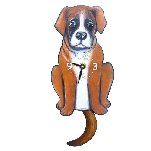 Tail-Wagging Dog Clock: Boxer