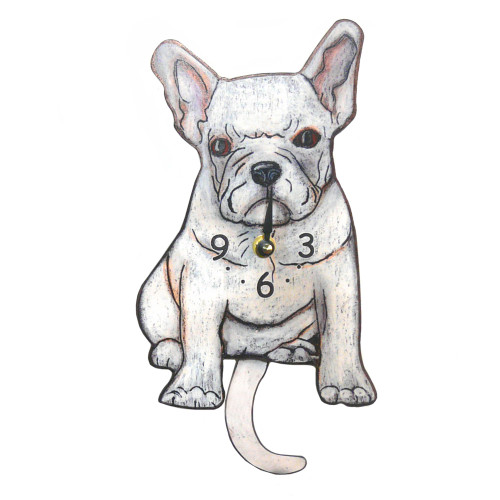 Tail-Wagging Dog Clock: White French Bulldog