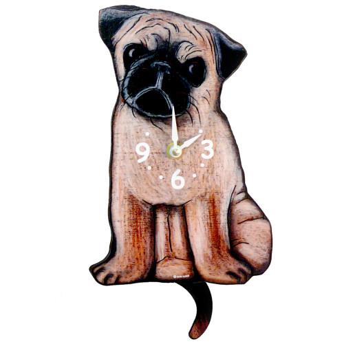 Tail-Wagging Dog Clock: Pug