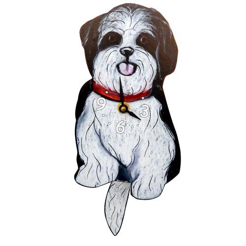 Tail-Wagging Dog Clock: Black and White Shih Tzu