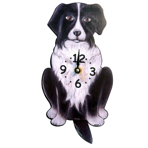 Tail-Wagging Dog Clock: Border Collie