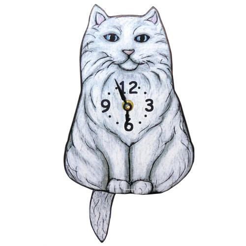 Tail-Wagging Cat Clock: Fluffy White Cat