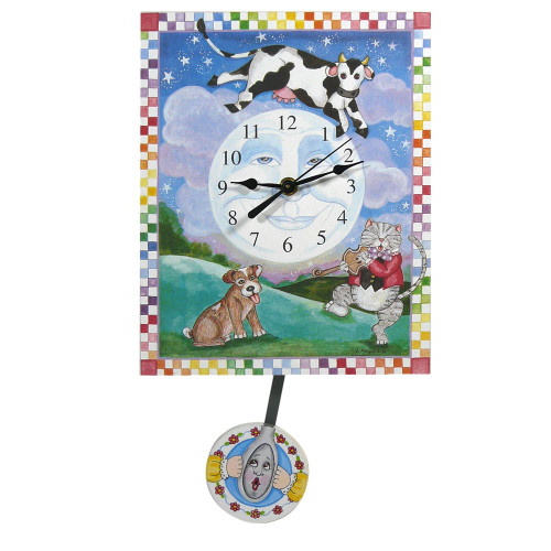 Cow Jumped Over the Moon Pendulum Clock
