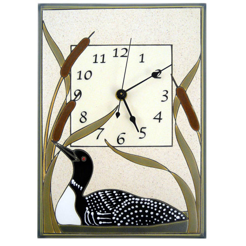 Ceramic Wall Clock: Loon in Cattails