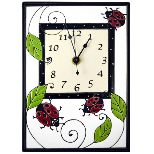 Ceramic Wall Clock: Ladybugs