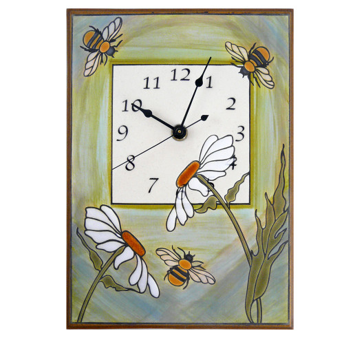 Ceramic Wall Clock: Busy Garden Bees