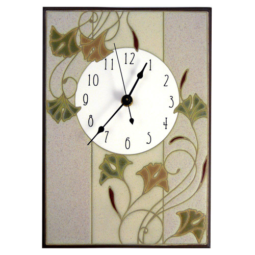 Ceramic Wall Clock: Nouveau Ginkgo