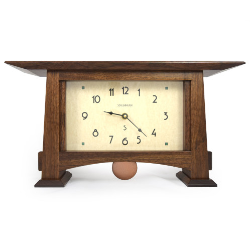 Walnut Craftsman Mantel Clock with Pendulum