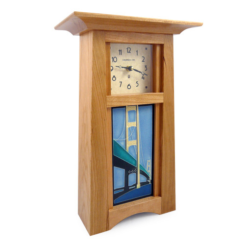Tall Craftsman Clock with Suspension Bridge Tile